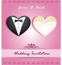 Wedding card in form heart with tuxedo and dress vector