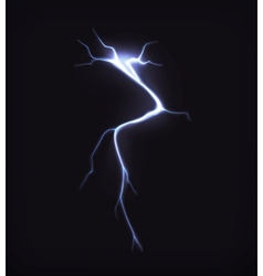 Lightning on black vector image