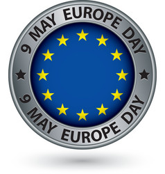 9 may europe day silver label with flag vector