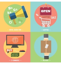 Icons for e-commerce delivery online shopoing vector