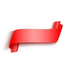 3d Red Curved Paper Banner Isolated on vector image vector image