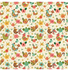 Cute floral seamless pattern with birds vector