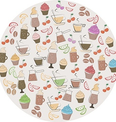Coffee and sweet food icons vector