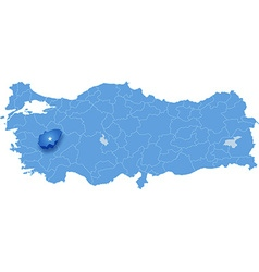 Map of turkey usak vector