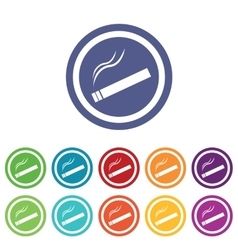 Smoking signs colored set vector
