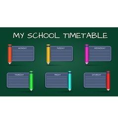 Template daily school timetable vector