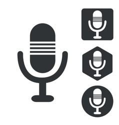 Microphone icon set monochrome vector