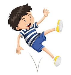 Little boy bouncing up and down vector