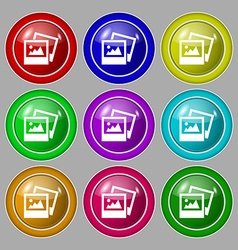 File jpg icon sign symbol on nine round colourful vector