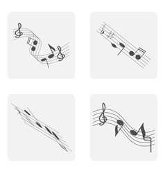 Monochrome icon set with treble clef and notes vector