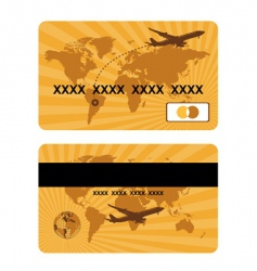 Bank card design world travel vector