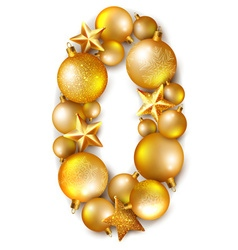 Number 0 made of shiny christmas tree balls vector