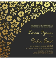 invitation card dark with gold vector image