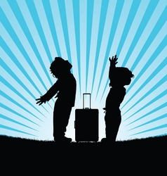 Children with travel bag silhouette vector