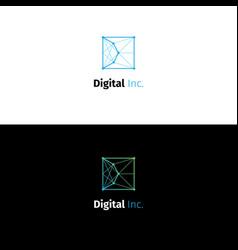Abstract d letter node logo vector