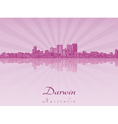 Darwin skyline in purple radiant orchid vector image vector image