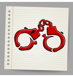 Doodle handcuffs vector image vector image