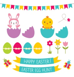 Easter hunt set vector