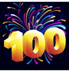 Fireworks with a gold number 100 vector image