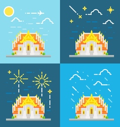 Flat design 4 style of Thai temple Thailand vector image