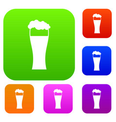 glass of beer set collection vector image