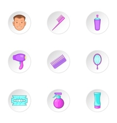 Hair cut icons set cartoon style vector