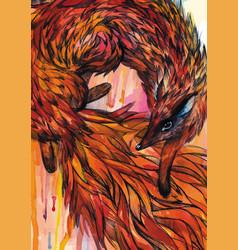 Hand drawn fox in watercolor vector