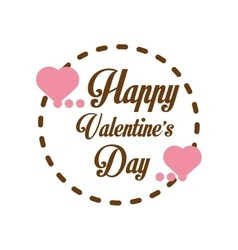 Happy valentines day card greeting heart label vector