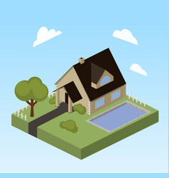 house with swimming pool isometric vector image
