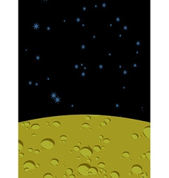 Moon landscape in space yellow surface of planet vector