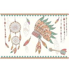 Native american dream catcher headdress vector