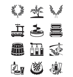 Olives and production of olive oil vector image vector image