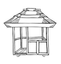 Painted wooden gazebo vector