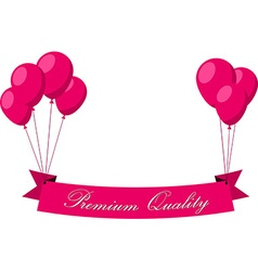Premium quality pink flat ribbon with balloons vector