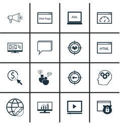 Set of 16 marketing icons includes intellectual vector