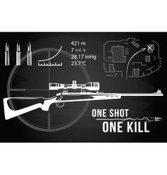 Set of firearms sniper rifles tactical map vector image