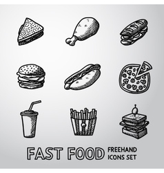 Set of freehand fast food icons - sandwich vector