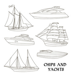Ships and yachts set vector