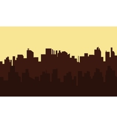 Silhouette of old town at morning vector image