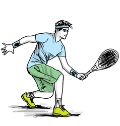 Sketch of man playing tennis vector image vector image
