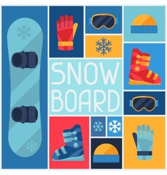 Sports background with snowboard equipment flat vector image vector image