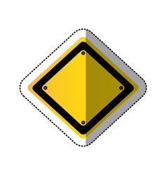 sticker yellow diamond traffic sign vector image vector image