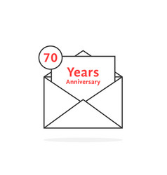 Thin line 70 years anniversary logo like open vector