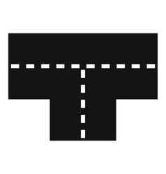 Tshaped crossroad icon simple style vector