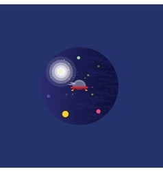Ufo at the night landscape vector image