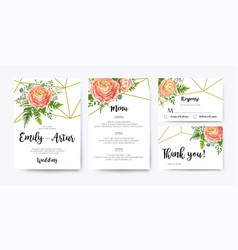 wedding invitation rsvp floral card design set vector image