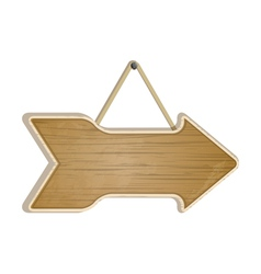 Wooden arrow sign on white vector