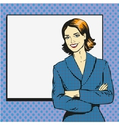 Woman with blank white paper poster Pop art comic vector image
