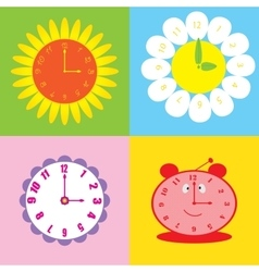 Set of colorful background with clock vector