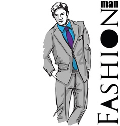 Sketch fashion handsome business man vector